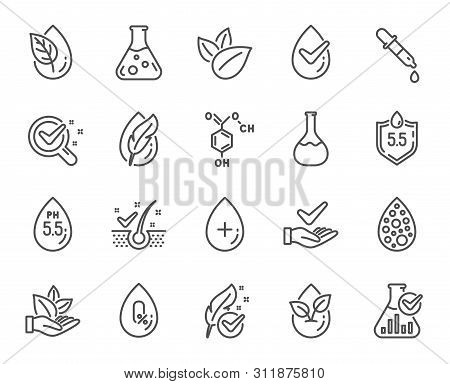 No artificial colors, Anti-dandruff flakes free line icons. Dermatologically tested, Alcohol free and Paraben chemical formula icons. Hypoallergenic tested, Neutral ph and Organic. Vector poster