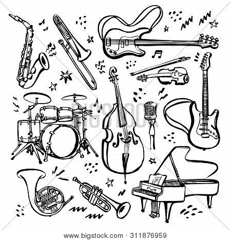 Hand Drawn Set Of Music Instruments. Ink Style Vector Illustration On White Background.