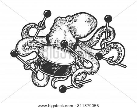 Octopus Playing Drum Sketch Engraving Vector Illustration. Scratch Board Style Imitation. Black And