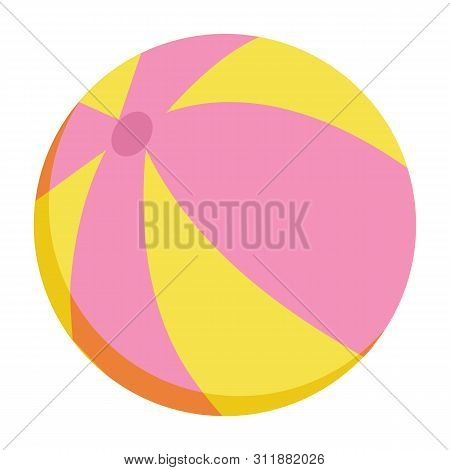Inflatable Striped Ball Isolated. Vector Pink And Orange Blown Or Plastic Toy, Rubber Object For Sum