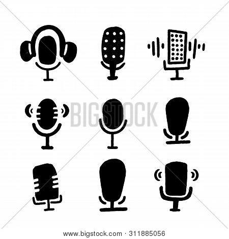 Studio Microphone Vector Set. Grunge Podcast Concept. Live Music. Karaoke Icon. Speaker Symbol.