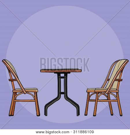 Drawn Coffee Table With Wrought-iron Legs And Two Wooden Chairs On A Purple Background