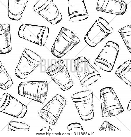 Set Of Illustration Of Stemware. Glasses For Alcohol And Water. Engraving Style Seamless Pattern.