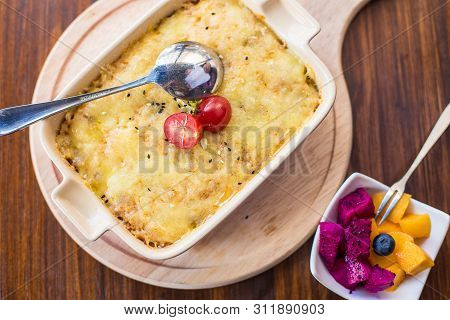 Cheese Baked Potato Paste On A Wooden Table