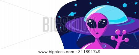 Greeting Card On A Fantasy Space Theme With A Portrait Of A Purple Alien And Flying Saucer Ship.spac