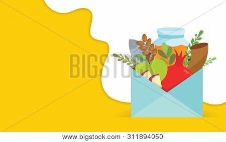 Rosh Hashana Greeting Carf With Envelope Full Of Rosh Hashana Elements.