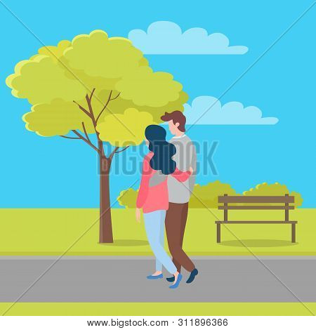 Embracing People In Love And Summer Season, Man And Woman Walking Outdoors, Trees On Background. Vec