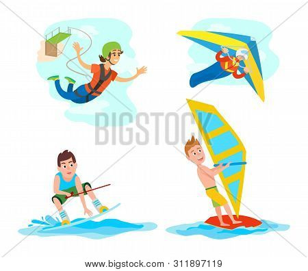 Hang Gliding And Windsurfing Vector, Set Of People With Hobbies, Woman With Rope Jumping From Bridge