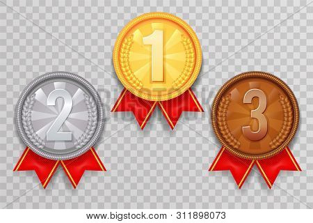 Shiny Gold Silver Bronze Winner Leader Award Ceremony Champion Thirst Second Third Place Medal Ribbo