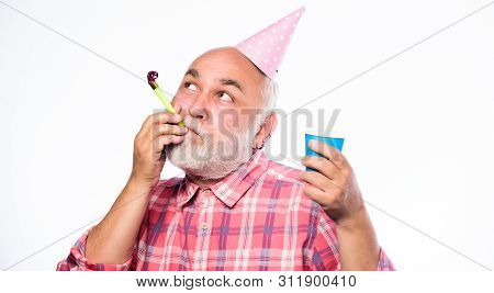Party Time. Happy Birthday. Corporate Party. Man Hold Party Cone Hat And Whistle. Happy Man With Bea