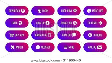 Action Buttons. Submit Message, Continue, Contact Us Vector Icon. Download Action, Sign Up, Shop Now