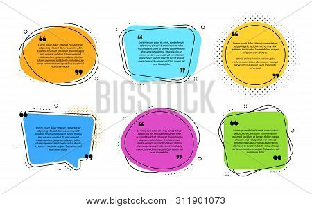 Texting Boxes Template. Quote Text Design Info Boxes. Quotation Chat Bubbles. Post Citation With Quo