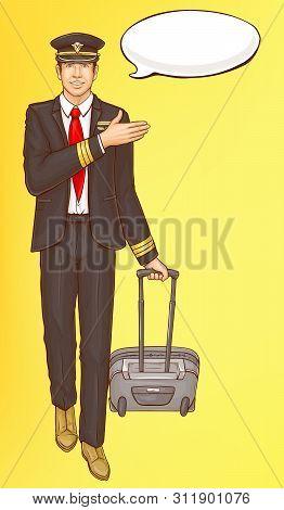 Pop Art Steward, Flight Attendant, Air Hostess Man In Strict Black Suit, White Shirt, Peaked Cap Wit