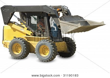 Skid loader or bobcat on a white background. Clipping pah included.
