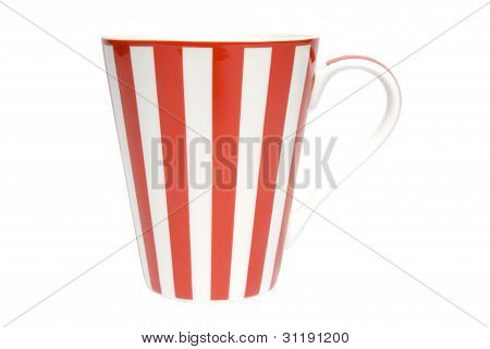 White coffee cup with red stripes on white background. Clipping path included.