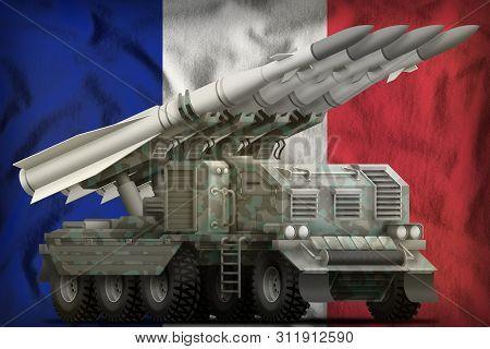 Tactical Short Range Ballistic Missile With Arctic Camouflage On The France Flag Background. 3d Illu
