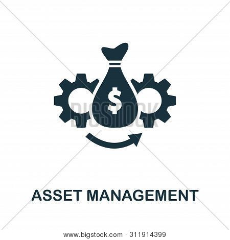 Asset Management Vector Icon Symbol. Creative Sign From Investment Icons Collection. Filled Flat Ass
