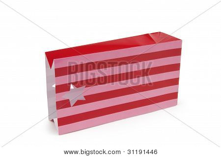 Empty striped paper party bag on white background