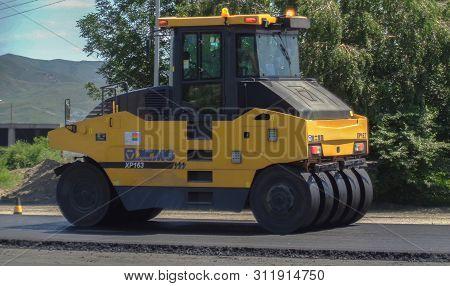 Kazakhstan, Ust-kamenogorsk, June 21, 2019: Pneumatic Roller Xcmg Xp 163. Steamroller. Equipment For