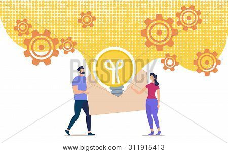 Bright Banner Envelope With Information About Idea.  Conceptual Idea People Pass On Their Ideas To O