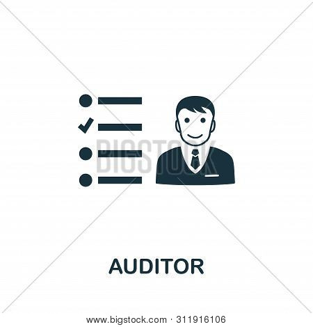 Auditor Vector Icon Symbol. Creative Sign From Investment Icons Collection. Filled Flat Auditor Icon