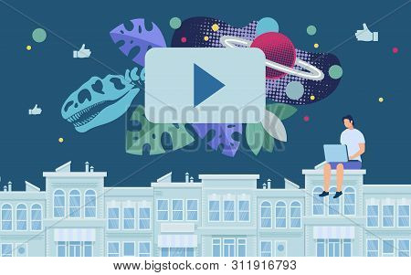 Bright Banner Watching Educational Video Flat. Conceptual Idea Man Explores Cosmic History. Guy Is S