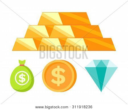 Bullion Set, Moneybag And Coin With Dollar Icon, Diamant Sign In Flat Design Style Isolated On White