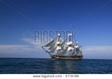 Sailing At Sea Under Full Sail