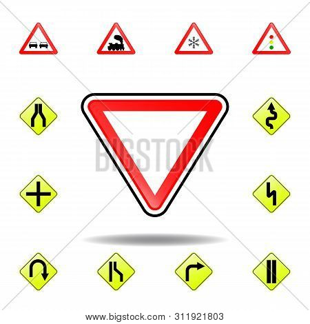 Yield Sign Icon. Set Of Road Signs Icon For Mobile Concept And Web Apps. Colored Yield Sign Icon Can