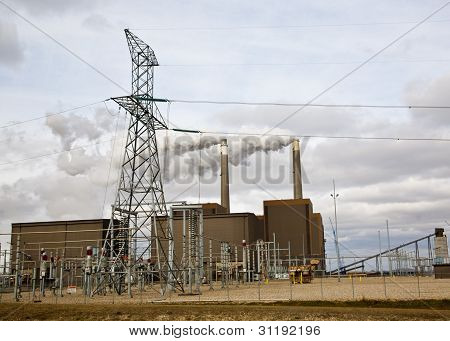 electric power plant smoke stack