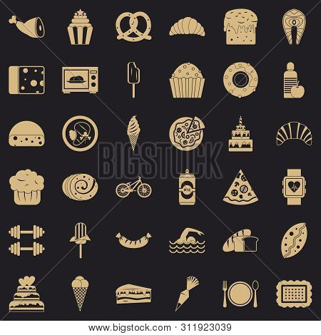Many calories icons set. Simple style of 36 many calories icons for web for any design poster