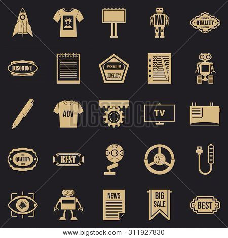 Press Room Icons Set. Simple Set Of 25 Press Room Icons For Web For Any Design