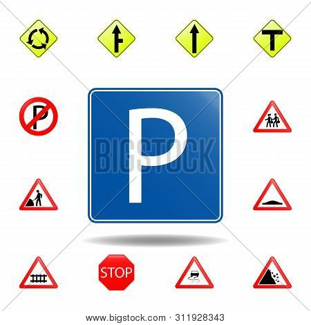 Parking Icon. Set Of Road Signs Icon For Mobile Concept And Web Apps. Colored Parking Icon Can Be Us