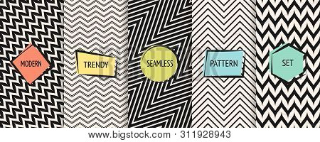 Zigzag Chevron Pattern Collection. Vector Geometric Seamless Textures With Zig Zag Lines, Stripes. S