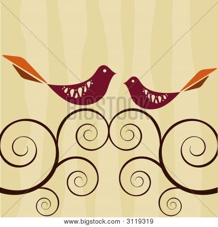 Retro Style Lovebirds On Swirly Vines