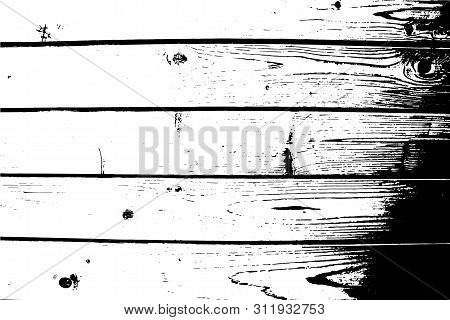 Vector Wood Texture. Abstract Background, Old Wooden Wall, Horizontal Wide Planks.