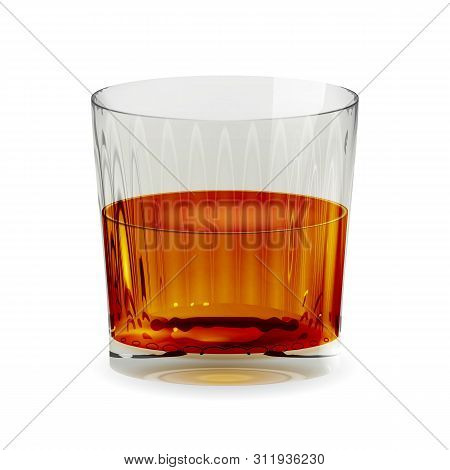 Snifter Glass With Whiskey, Realistic Cup And Isolated. Alcohol Drink Glass Icon Illustration