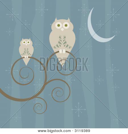 Retro Style Owl Family At Night