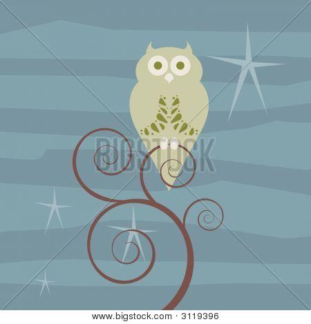 Retro Owl Starry Night
