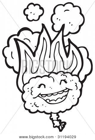flaming brain cartoon