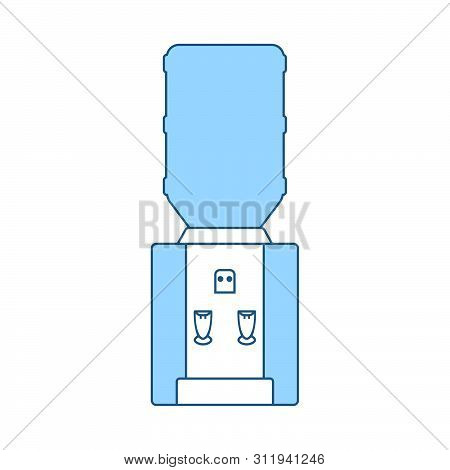 Water Cooling Machine. Thin Line With Blue Fill Design. Vector Illustration.