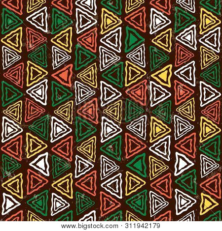 Abstract African Art Style Seamless Pattern. Hand Drawn Tribal Decoration Background With Boho Doodl