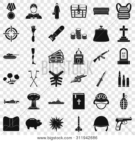 War Offence Icons Set. Simple Style Of 36 War Offence Icons For Web For Any Design