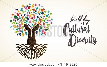 Cultural Diversity Day Card Illustration. Tree Made Of Human Hand Prints Together For Love And Peace