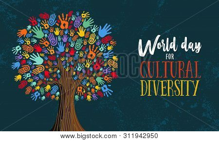 Cultural Diversity Day Illustration For Help And Social Love. Tree Made Of Colorful Human Hands Conc