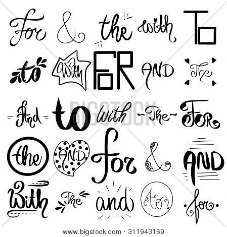 Vector Sketched Ampersands And Catchwords. Decorative Calligraphic Detailes. Big Collection Of Black