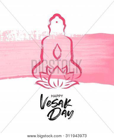 Happy Vesak Day Illustration For Traditional Buddha Birth Celebration. Pink Hand Drawn Statue With L
