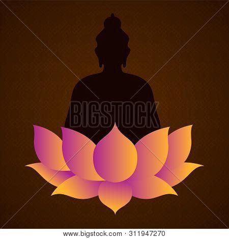 Vesak Day Card For Buddha Birth Celebration Holiday. Lotus Flower And Statue Silhouette Illustration