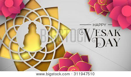Happy Vesak Day Illustration For Hindu Holiday Celebration. Gold Paper Cut Buddha Mandala With Pink
