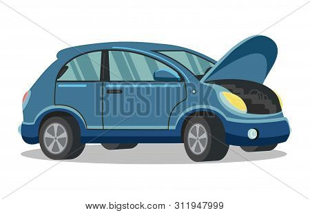 Blue Car With Open Hood On White Background. Service Station. Auto Service. Open Hood. Automotive Re